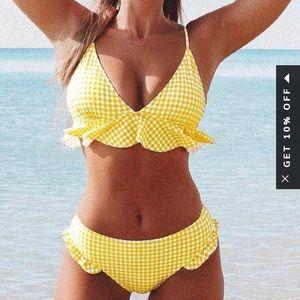 Yellow Ruffle Bikini